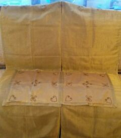 NEW Pair of Gold Voil Tab Top Curtains Beaded Panels & Cushion Cover Set Fabric/Furnishing Christmas