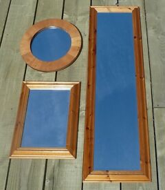 3 Gorgeous pine and walnut wood mirrors, 1 full length/1 rectangular/ 1 walnut, a 3 for 1 bargain!