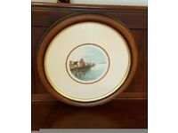 pair of maritime watercolour paintings in stunning round oak frames