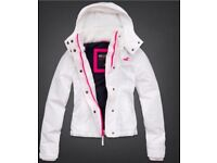 Hollister Girls All Weather Pink & White Hooded Coat Size XS