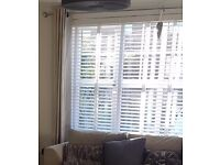 White Faux Wood Blind with linen tape - 50 mm slats - brand new