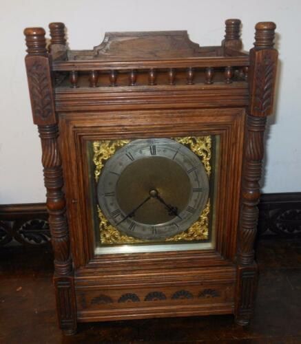 oak cased striking bracket clock by winterhalder & hoffmeir c1900s