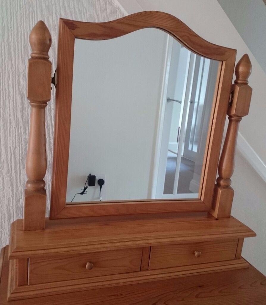 Pine Dressing Table Mirror / Vanity Mirror / Freestanding Mirror With 2  Drawers