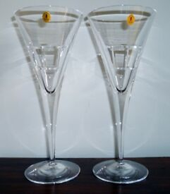 Tyrone Crystal Wine Glass x 2 CUBIS Contemporary