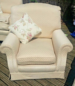 2 seater sofa with cushions and 2 matching armchairs