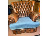 Antique Chesterfield Brown Leather Armchair