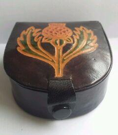 1970s Vintage Scottish Leather Studs & Links Box