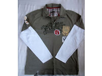 Cherokee khaki/white 100% cotton, long sleeve, collar/2 button top. Size M. £3 ovno.