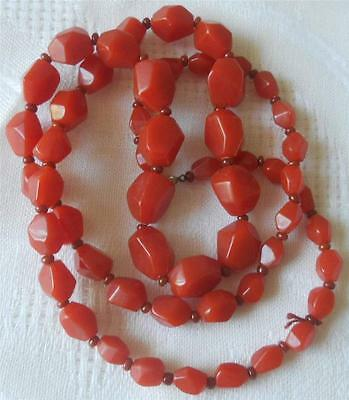 1930s Art Deco Style Jewelry VINTAGE C1930'S GRADUATED DEEP ORANGE EARLY PLASTIC BEADS NECKLACE $34.81 AT vintagedancer.com