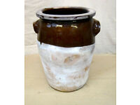 Large antique pot/ jar/ urns/terracotta/ part salt glazed