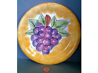 2x large hand painted grapes plate