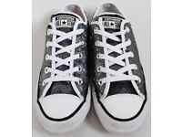 Women's Size 4 Converse Trainers - Grey / Rainbow Coloured Sparkly Sequins