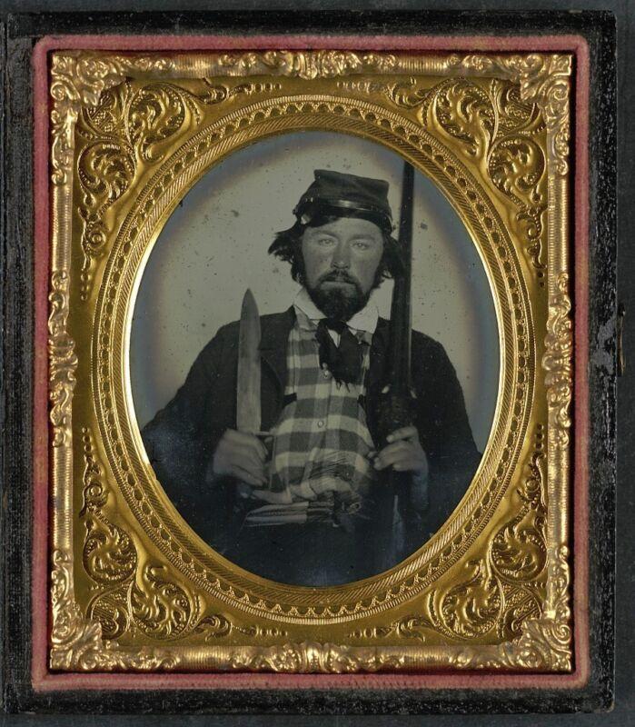 Photo Civil War Confederate 9th Tennessee Cavalry Batallion Bowie Knife Shotgun
