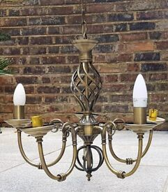 Classic bronze-coloured metal chandelier. 5 lights. PRICE REDUCED from £40-->£30