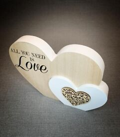 Beautiful wooden heart blocks (2 designs available )