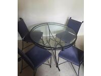 Metal frame dining table and 4 chairs John Lewis