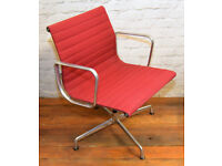 Red Charles Eames Vitra aluminium swivel vintage desk chair office industrial chairs modernist retro