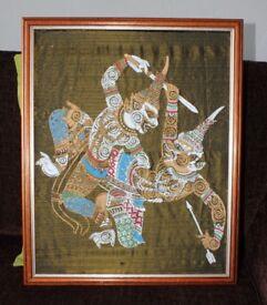 2 x Stunning framed vintage Thai paintings on silk