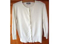 CARDIGAN: Women's white round neck Wallis ¾ length sleeve cardigan. Size 12. Ideal for summer