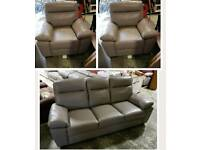 Ivory Grey leather 3 seater & 2 chairs recliner
