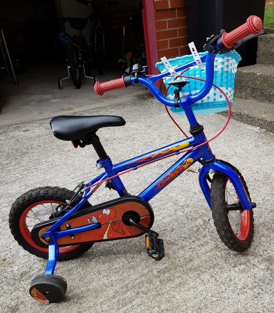 Blue And Red Dragon Kids Bike Age 3 6 Years Old With Stabilizers