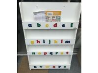 Tidy Books Children's Bookcase in White with lowercase alphabet