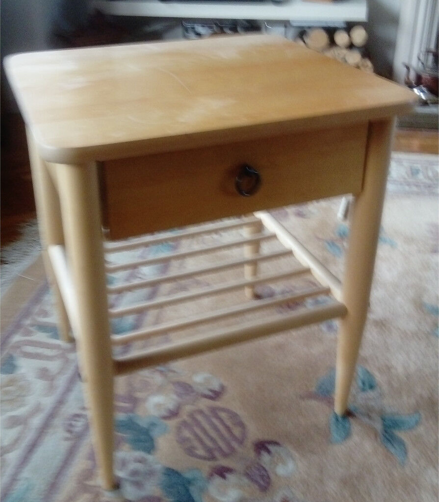 Solid beech side table or bedside table