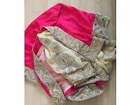Pink and cream saree