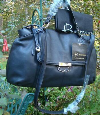 NEW B Makowsky BLACK Lombard Satchel & Crossbody Bag, Leather Goldtone MSRP $298