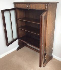 Antique early 1900s oak book/China cabinet