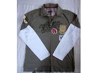 Cherokee khaki/white 100% cotton, long sleeve, collar/2 button top. Size M. £3 ovno.