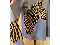 Unusual. BIBA. Ladies Jumper. Zebra detail Blue, Gold & Black. House of Fraser. XL. Cost £60