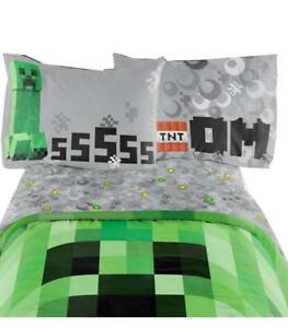 "Minecraft Bedding Set Excellent Designed Multicolored Kids Comfortable Twin Sheet Set 66"" X 96"""