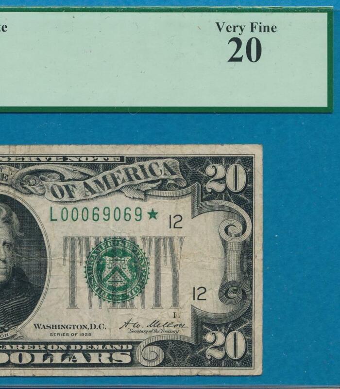 $20. RARE 1928 STAR RARE SAN FRANCISCO FEDERAL RESERVE NOTE PCGS VF20