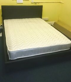 Double bed low frame & base drawer, with mattress