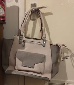 Miss Selfridge Nude Pink & Stone Grey Hand Bag In Great Condition! Cost £45