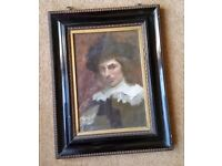 antique 19th century oil painting , listed artist, signed and dated, two paintings in one