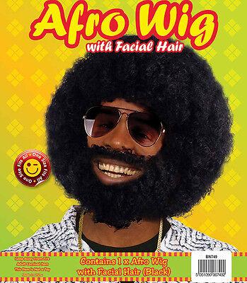 BLACK AFRO & BEARD Set 70s Pimp Disco Retro Fancy - 70's Disco Pimp Kostüm