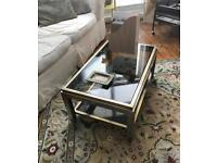 Stunning 70s coffee table, smoked glass , chrome brass
