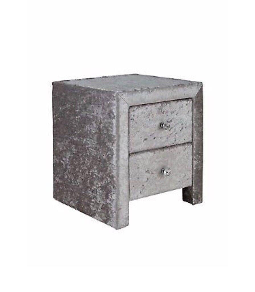 Crushed Velvet Silver Bedside Table 2 Drawer