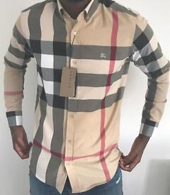 burberry mens shirt checkered beige joblot designer 2017 size xl
