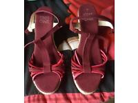 New red canvas wedge sandals size 7