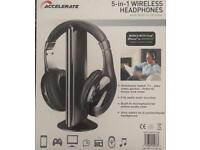 5-in-1 wireless headphones with built-in receiver - brand new
