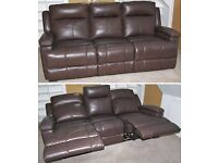 Leather 3-Seater Sofa Settee Couch, Double Manual Recliner, Sofology/Sofaworks Dorchester Collection