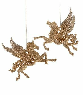 Katherine's Collection  Golden Pegasus Horse Christmas Ornaments Set of 2