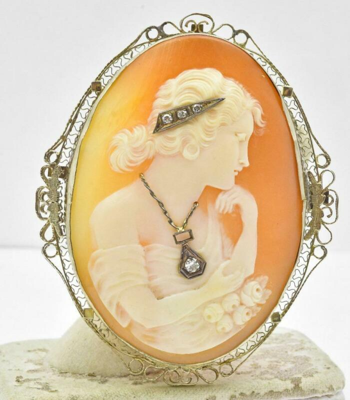 Antique RARE 14k White Gold & Diamond Carved Shell Large Size cameo Pin Pendant