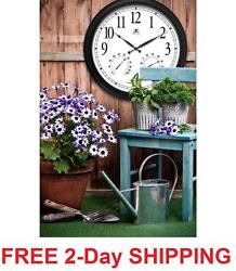 Large Outdoor Indoor Wall Clock Thermometer Humidity Patio Pool Atomic Bold NEW