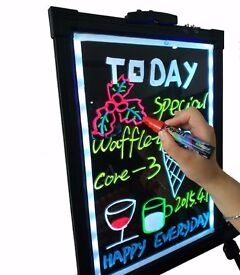 LED Tempered Glass Neon Illuminated Menu Sign Writing Board+Remote+Pens+Stand