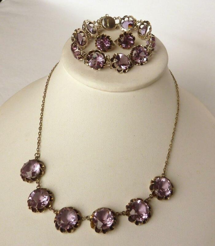Vintage Sterling Color Change Alexandrite Glass Necklace Bracelet Earrings Set