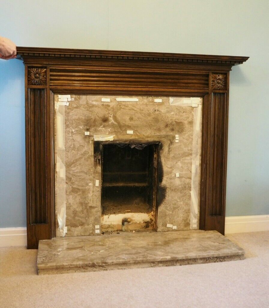 Wooden Fireplace Surround With Marble Panel And Hearth In Huntington North Yorkshire Gumtree